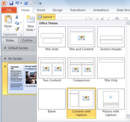 cambiar el layout de powerpoint