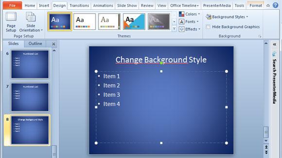 cambiar el estilo de fondo de presentaciones powerpoint