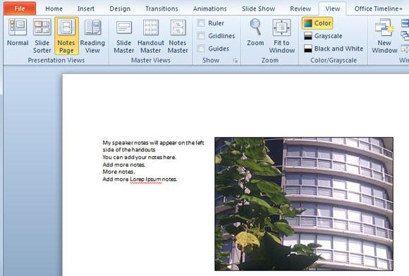 Cómo imprimir notas del orador en el lado izquierdo