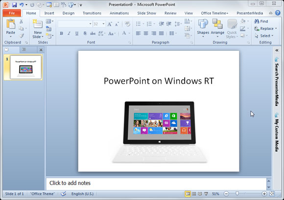 MS Office con PowerPoint para Windows RT