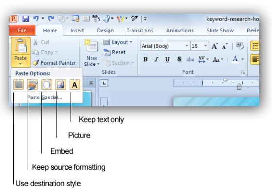 Opciones de Copiar y Pegar en PowerPoint 2010