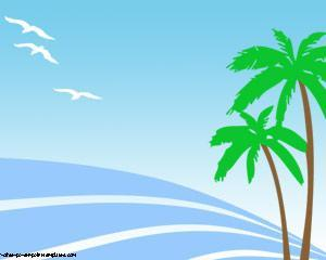 Palmeras en la Playa Powerpoint PPT Template