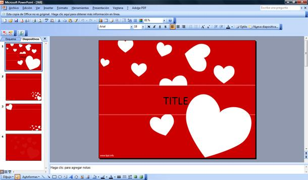 plantilla de corazones volando para powerpoint gratis